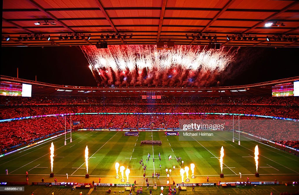 Fireworks are seen prior to the start of the 2015 Rugby World Cup Pool A match between England and Fiji at Twickenham Stadium on September 18 2015 in...