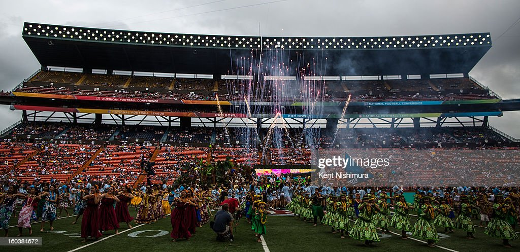 Fireworks are set off during the 2013 AFC-NFC Pro Bowl pre-game show on January 27 , 2013 at Aloha Stadium in Honolulu, Hawaii.