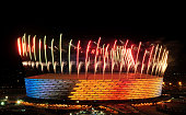 Fireworks are set off from the stadium during the Opening Ceremony for the Baku 2015 European Games at National Stadium on June 12 2015 in Baku...