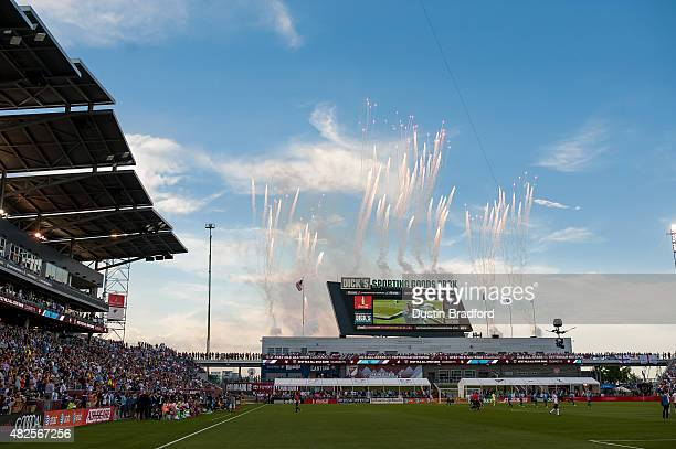 Fireworks are set off in after a MLS AllStars goal is scored in the first half of the 2015 ATT Major League Soccer AllStar game between the MLS...