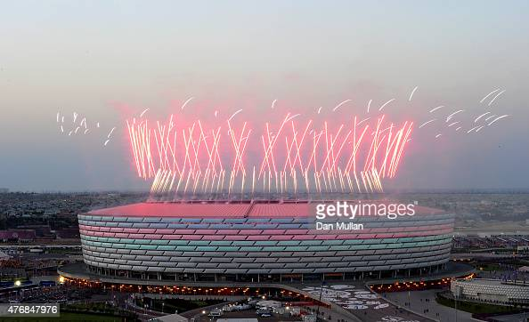 Fireworks are set off to signal the start of the Opening Ceremony for the Baku 2015 European Games at the Olympic Stadium on June 12 2015 in Baku...