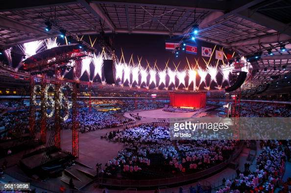 Fireworks are shown during the Opening Ceremony of the Turin 2006 Winter Olympic Games on February 10 2006 at the Olympic Stadium in Turin Italy