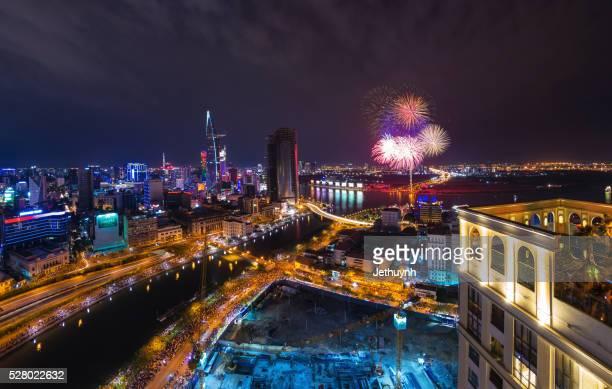 Fireworks at Ho Chi Minh City to celebrating National Day with Saigon Skyline