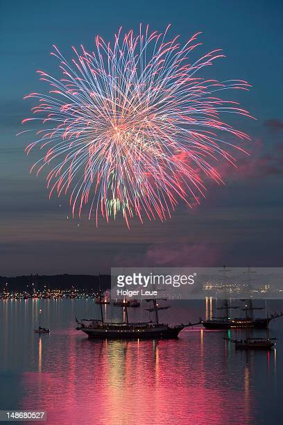 Fireworks at Kieler Woche sailing and tall ship festival.