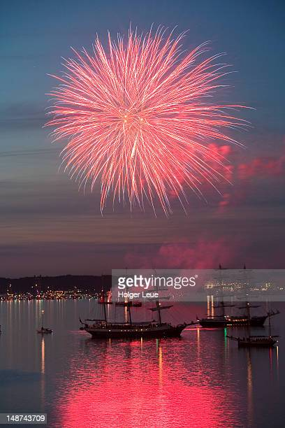 Fireworks at Kieler Woche sailing and tall ship festival.
