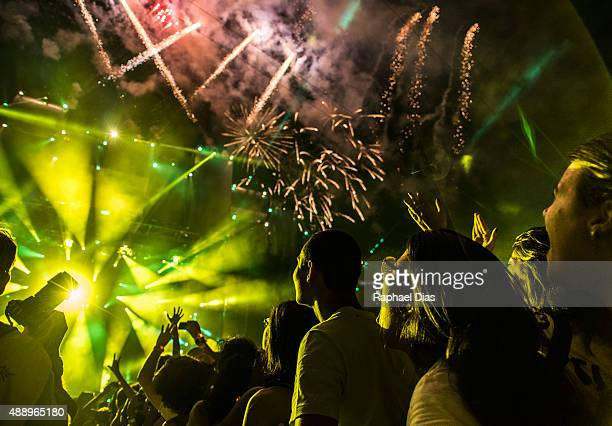 Fireworks at the beginning of Rock in Rio 30 anos performance at 2015 Rock in Rio on September 18 2015 in Rio de Janeiro Brazil