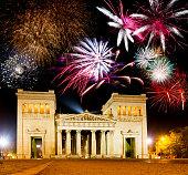 Fireworks at the illuminated Propylaea at the Koenigsplatz in Munich