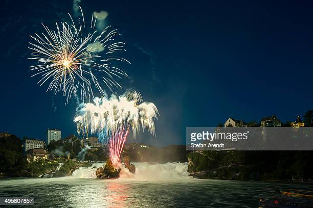 Fireworks at the Rhine Falls during the Swiss National Day celebrations, Schaffhausen, Canton of Schaffhausen, Switzerland