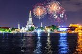 Fireworks at Wat Arun Ratchawararam Ratchawaramahawihan Public Landmark in Bangkok