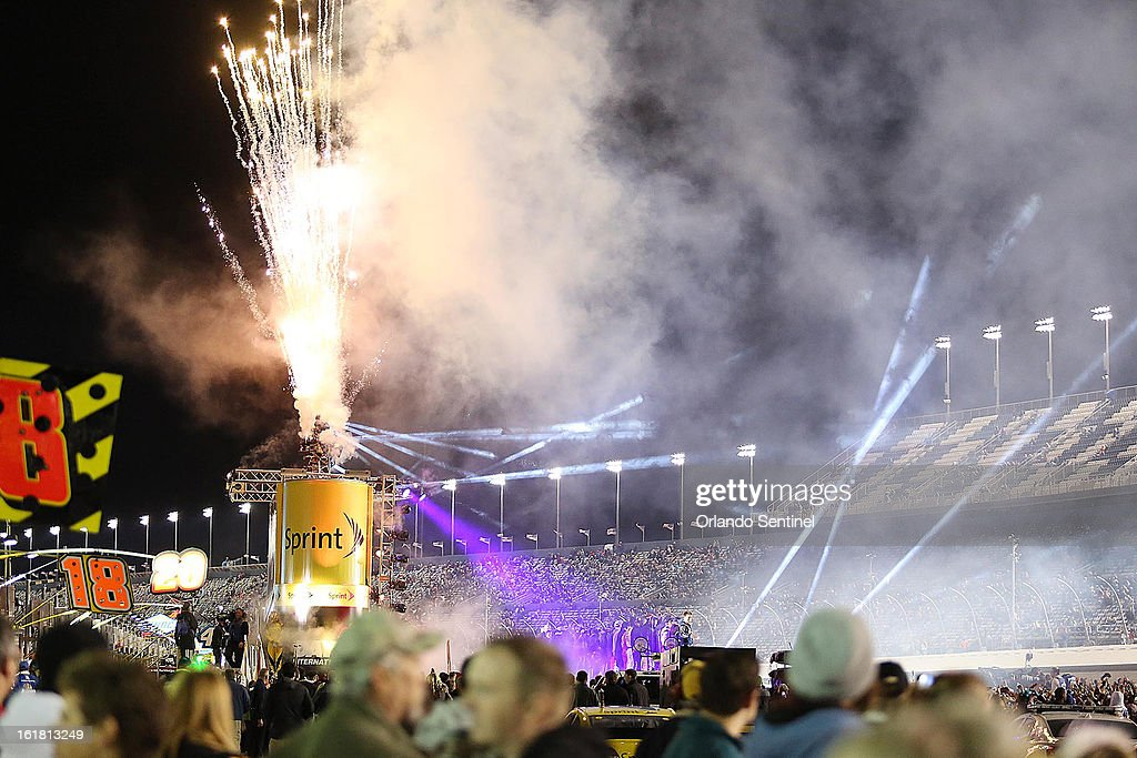 Fireworks, bright lights and smoke signal driver introductions before the start of the Sprint Unlimited NASCAR Sprint Cup race at Daytona International Speedway on Saturday, February 16, 2013, in Daytona Beach, Florida.