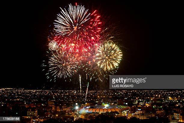 Fireworks burst over the Pascual Guerrero Olympic Stadium during the closing ceremony of the World Games on August 4 in Cali The World Games gather...