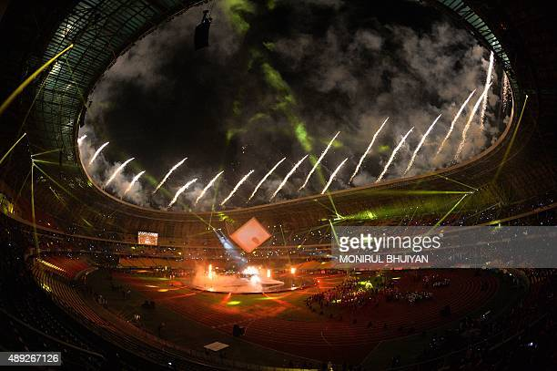 Fireworks burst over the stadium during the closing ceremony of the 11th Africa Games in Brazzaville on September 19 2015 This edition marks the 50th...