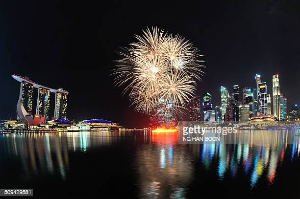 Fireworks display at Marina Bay during the Singapore National Day Parade 2014