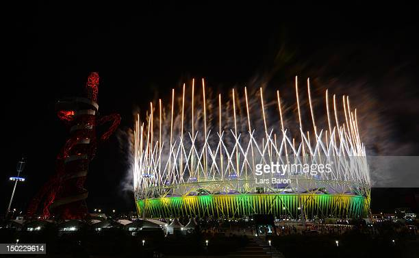 A fireworks display at Olympic Stadium is seen during the Closing Ceremony for the 2012 Summer Olympic Games on August 12 2012 in London England