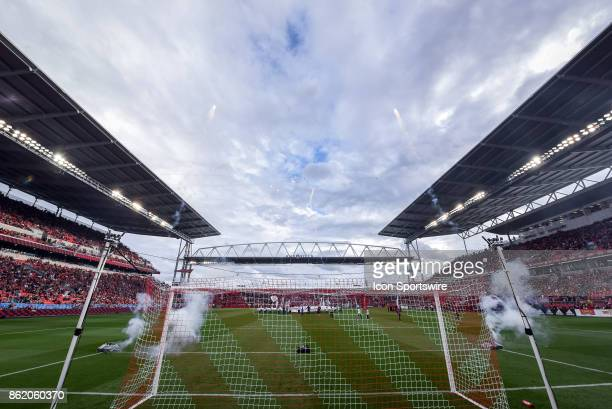 Fireworks display before the MLS Soccer regular season game between Toronto FC and Montreal Impact on October 15 at BMO Field in Toronto ON Canada