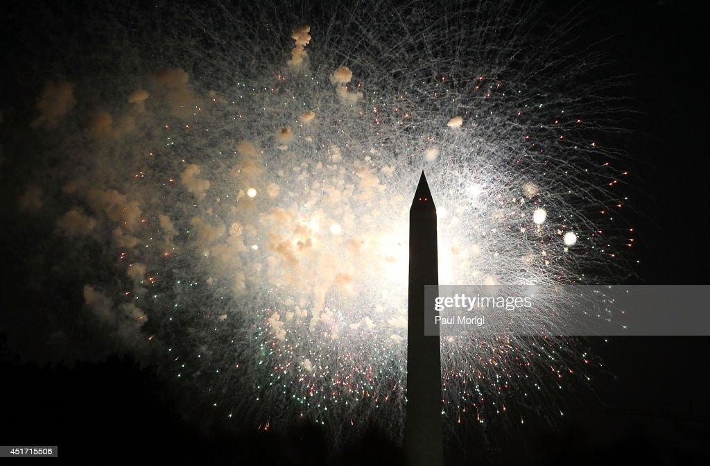 Fireworks display during PBS's 2014 A CAPITOL FOURTH at US Capitol West Lawn on July 4 2014 in Washington DC