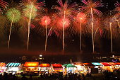 Fireworks Display Festival in Sakata, Yamagata, Japan (Beautiful fireworks & many brilliant stalls selling snacks, drink,noodle,grilled chicken called yakitori )
