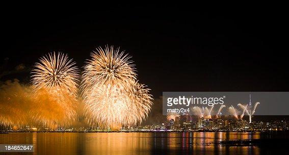Fireworks display in Auckland, New Zeland