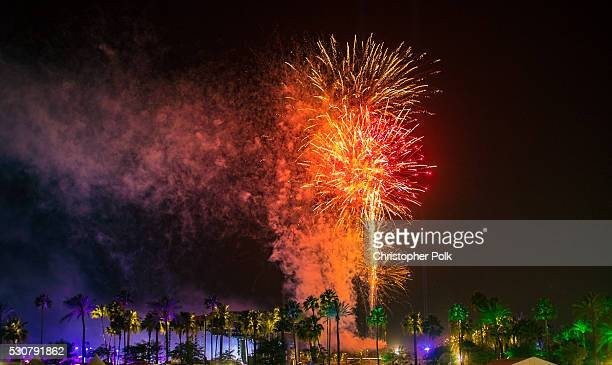 A fireworks display is seen during 2016 Coachella Valley Music And Arts Festival at the Empire Polo Field on April 24 2016 in Indio California