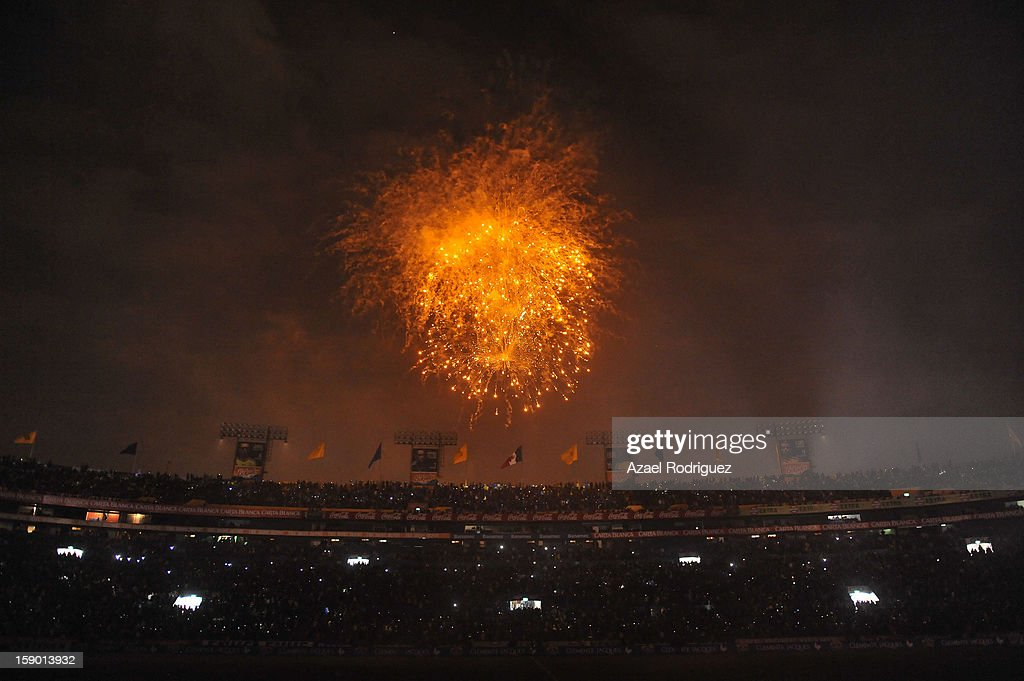 Fireworks during the match between Tigres and Jaguares as part of theClausura 2013 championship at Universitario Stadium on January 05, 2013 in Monterrey, Mexico.