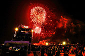 Fireworks during the Opening Ceremony ahead of the ICC 2015 Cricket World Cup at Hagley Park on February 12 2015 in Christchurch New Zealand
