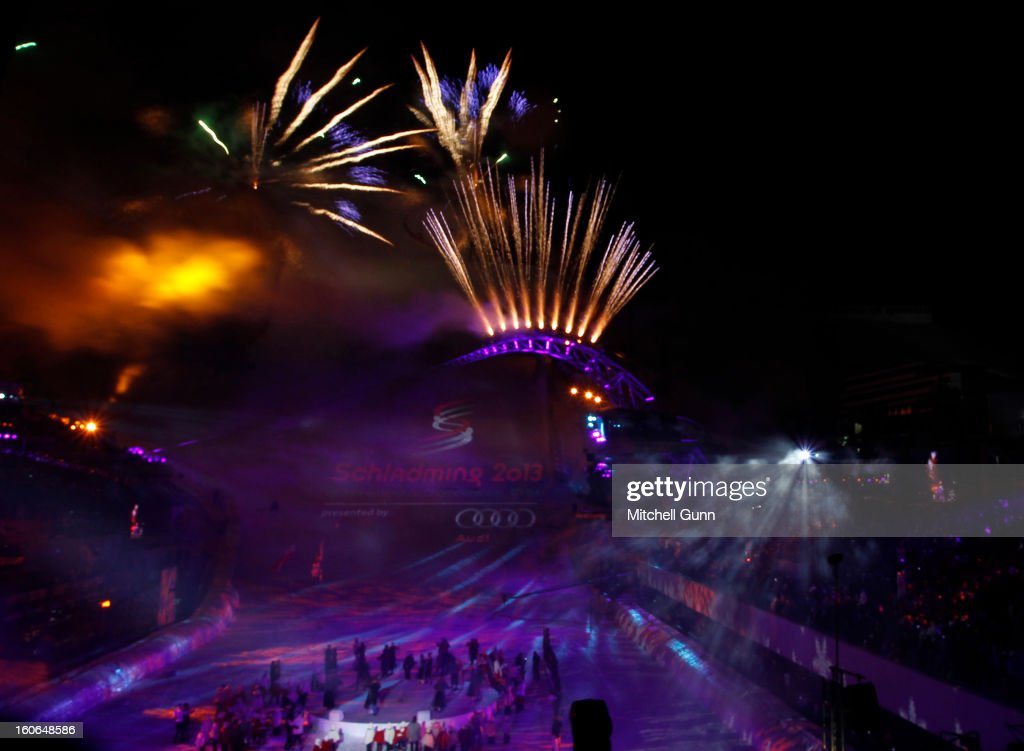 Fireworks during the opening ceremony for the Alpine FIS Ski World Championships on February 04, 2013 in Schladming, Austria,