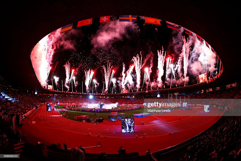 Fireworks erupt at the opening ceremony during day one of the 22nd European Athletics Championships at Stadium Letzigrund on August 12, 2014 in Zurich, Switzerland.