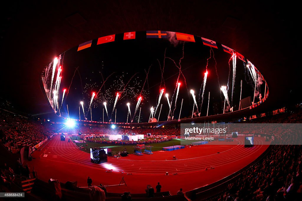 Fireworks erupt at the opening ceremony during day one of the 22nd European Athletics Championships at Stadium Letzigrund on August 12, 2014 in Zurich, Switzerland.