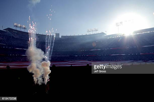 Fireworks erupt in the outfield before game three of the National League Championship Series between the Los Angeles Dodgers and the Chicago Cubs at...