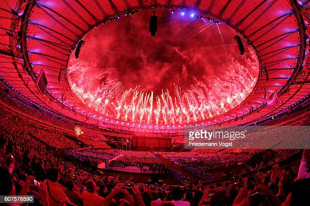 Fireworks erupt marking the beginning of the closing ceremony of the Rio 2016 Paralympic Games at Maracana Stadium on September 18 2016 in Rio de...