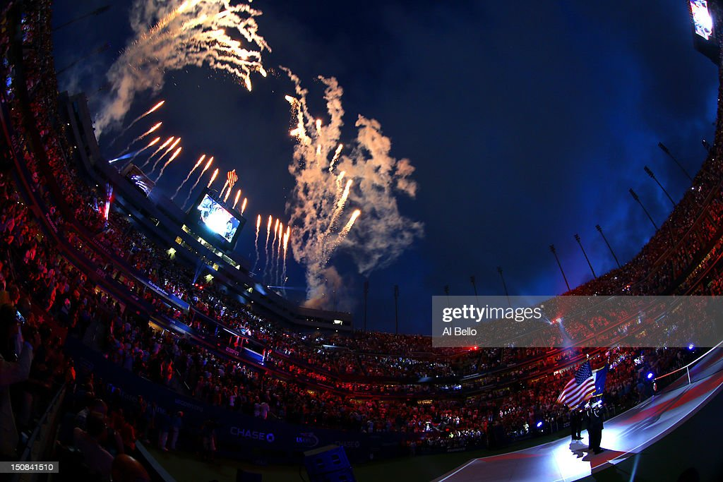 Fireworks expload as Actress/recording artist Jordin Sparks sings the national anthem during the opening ceremonies on Day One of the 2012 US Open at USTA Billie Jean King National Tennis Center on August 27, 2012 in the Flushing neigborhood of the Queens borough of New York City.