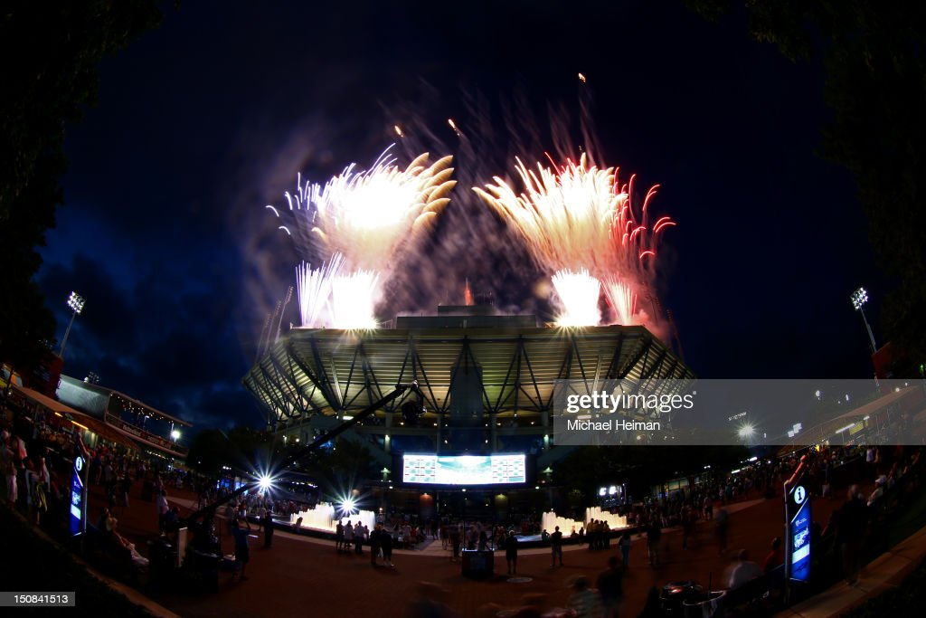 Fireworks expload over Arthur Ashe Stadium during the national anthem in the opening ceremonies on Day One of the 2012 US Open at USTA Billie Jean King National Tennis Center on August 27, 2012 in the Flushing neigborhood of the Queens borough of New York City.