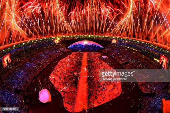 Fireworks explode above the stadium during the Opening Ceremony of the Rio 2016 Olympic Games at Maracana Stadium on August 5 2016 in Rio de Janeiro...
