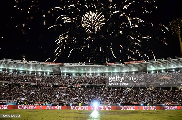 Fireworks explode after River Plate won a final match between River Plate and Rosario Central as part of Copa Argentina 2016 at Mario Alberto Kempes...