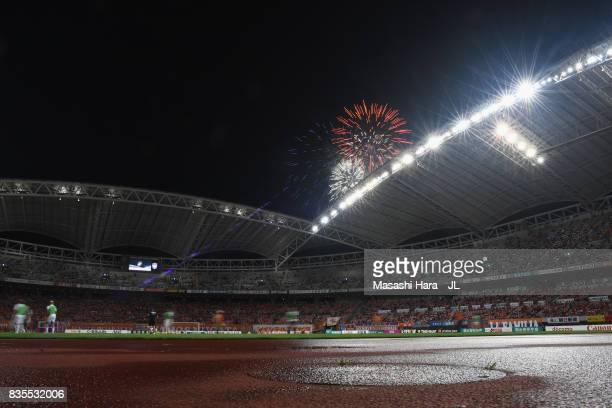 Fireworks explode at half time during the JLeague J1 match between Albirex Niigata and Vegalta Sendai at Denka Big Swan Stadium on August 19 2017 in...