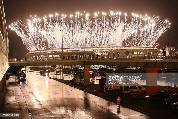 Fireworks explode at Maracana Stadium during closing ceremonies at the Rio 2016 Olympic Games on August 21 2016 in Rio de Janeiro Brazil