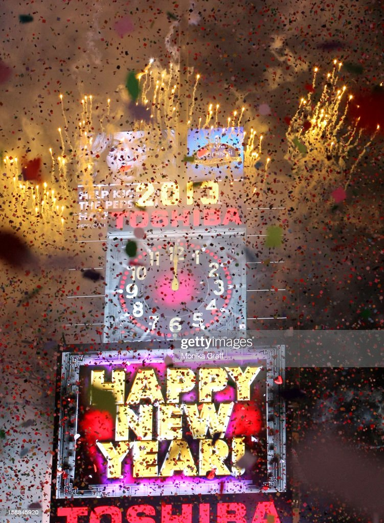 Fireworks explode at the stroke of midnight in Times Square on January 1, 2013 in New York City. Approximately one million people are expected to ring in the new year in Times Square.