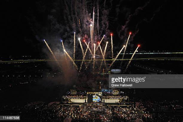 Fireworks explode before the NASCAR Sprint AllStar Race at Charlotte Motor Speedway on May 21 2011 in Charlotte North Carolina