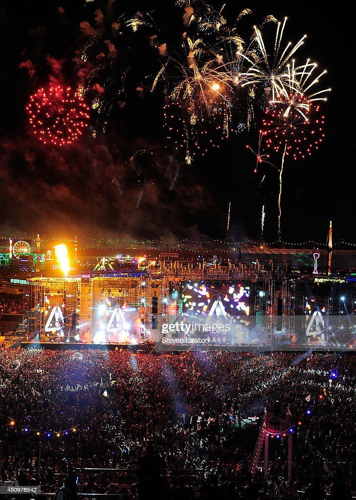 Fireworks explode during the 18th annual Electric Daisy Carnival at Las Vegas Motor Speedway on June 21, 2014 in Las Vegas, Nevada.