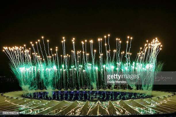 Fireworks explode during the Closing Ceremony 2016 Olympic Games at Maracana Stadium on August 21 2016 in Rio de Janeiro Brazil
