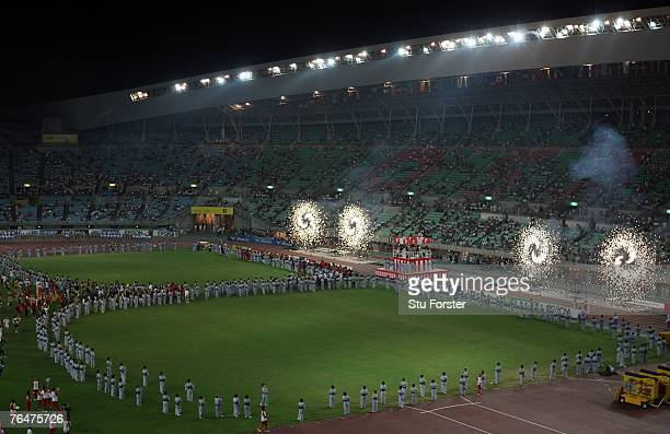 Fireworks explode during the closing ceremony on day nine of the 11th IAAF World Athletics Championships on September 2 2007 at the Nagai Stadium in...