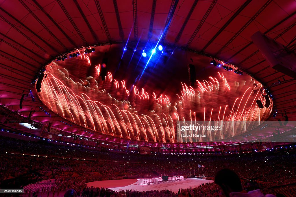 Fireworks explode during the 'Love Sport Tokyo 2020' segment during the Closing Ceremony on Day 16 of the Rio 2016 Olympic Games at Maracana Stadium...