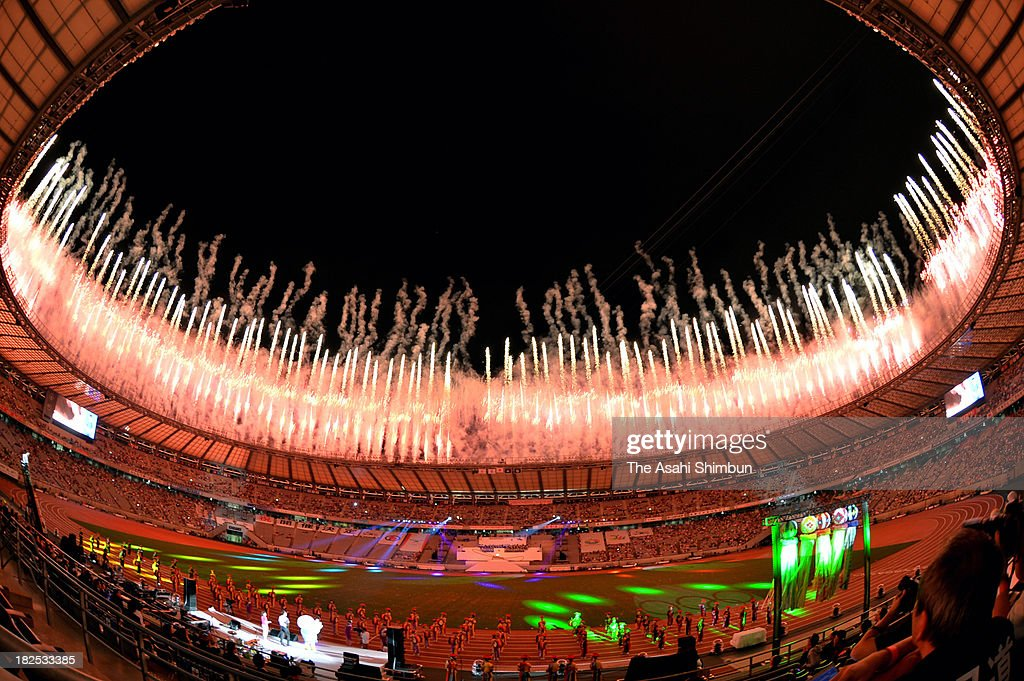 Fireworks explode during the national sports festival opening cereony at Ajinomoto Stadium on September 28, 2013 in Tokyo, Japan.