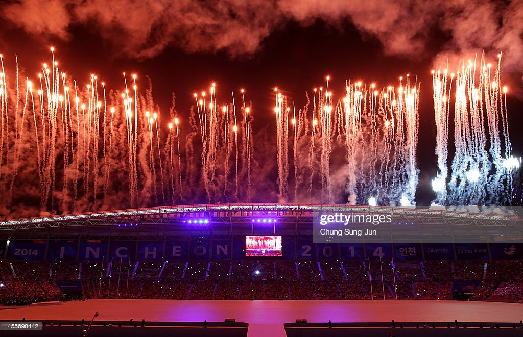 Fireworks explode during the Opening Ceremony ahead of the 2014 Asian Games at Incheon Asiad Stadium on September 19 2014 in Incheon South Korea