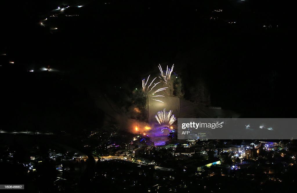 Fireworks explode during the opening ceremony of the FIS World Ski Championships on February 4, 2013 in Schladming.