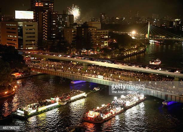 Fireworks explode during the Osaka Tenjin Festival on July 25 2014 in Osaka Japan