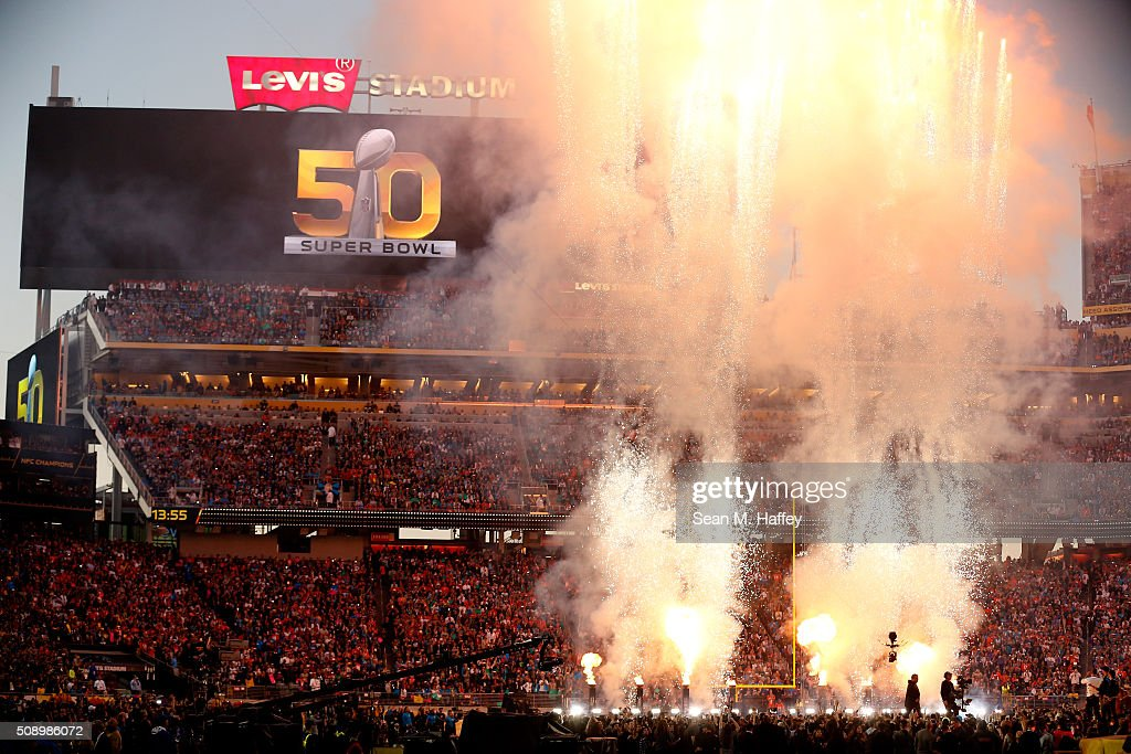 Fireworks explode during the Pepsi Super Bowl 50 Halftime Show at Levi's Stadium on February 7 2016 in Santa Clara California