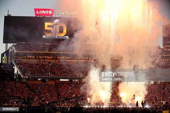 Fireworks explode during the Pepsi Super Bowl 50 Halftime Show at Levi's Stadium on February 7 2016 in Santa Clara California