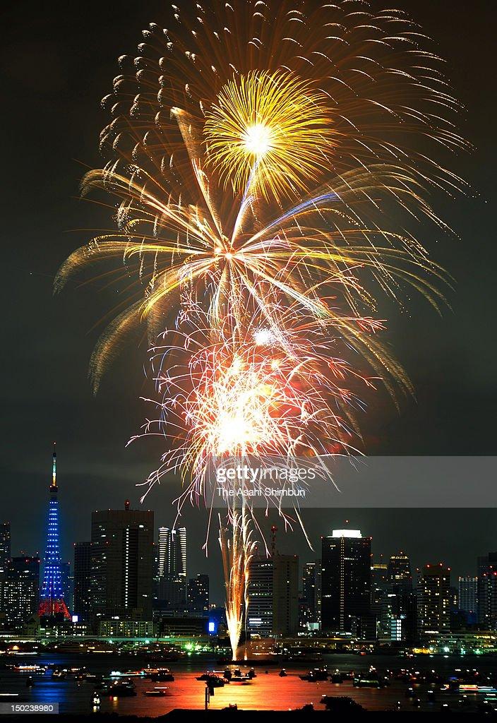 Fireworks explode during the Tokyo Bay Fireworks Festival 2012 on August 11, 2012 in Tokyo, Japan.