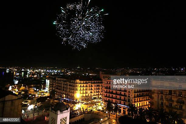 Fireworks explode in the sky as supporters of Algerian President and candidate to the presidential elections Abdelaziz Bouteflika celebrate in...